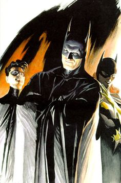 Batman, Robin & Batgirl by Alex Ross Batman Art, Batman Comics, Batman And Superman, Batman Robin, Alex Ross, Comic Book Artists, Comic Books Art, Batgirl, Catwoman