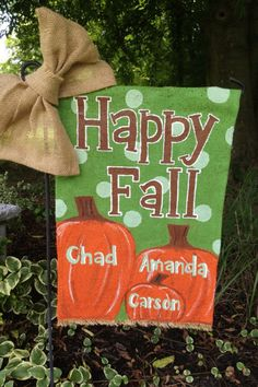 Monogrammed Pumpkin Family Happy Fall Burlap by WORLEYdesigns Burlap Garden Flags, Burlap Flag, Burlap Signs, Burlap Projects, Burlap Crafts, Pumpkin Family, Garden Flag Stand, Happy Fall Y'all, Fall Crafts