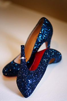 Sparkling blue louboutins, dazzling statement shoes that add a fun and daring statement to a beautiful white bridal gown. #weddingshoes