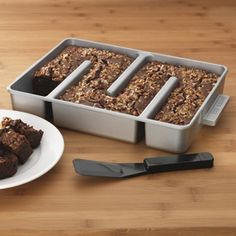 """""""The Edge"""" Brownie Pan. No more fighting over those chewy delicious corners...there's lots to go around! No soggy undercooked center."""