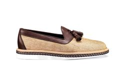 Santoni | Slipper with tassels in beije jute and brown calfskin #SpringSummer15 #SantoniShoes