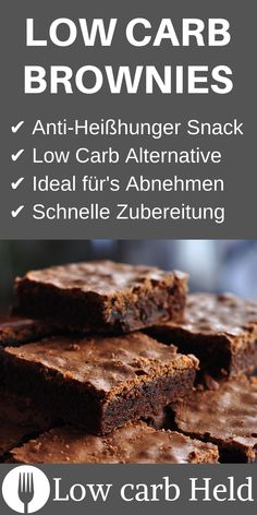Super tasty and fluffy low carb chocolate brownies. Dieses Rezept musst du mir … Super tasty and fluffy low carb chocolate brownies. You absolutely have to imitate this recipe! Chocolate Low Carb, Easy Chocolate Desserts, Chocolate Cake Recipe Easy, Low Carb Desserts, Chocolate Brownies, Chocolate Recipes, Low Carb Recipes, Easy Cake Recipes, Healthy Dessert Recipes