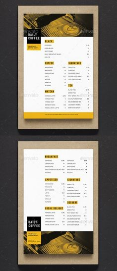 Simple Coffee Shop Menu, can be used for your coffee shop, cafe or restaurant menu.Very easy to edit the text and the image. File Features : Size In Bleed area 2 PSD Files (Front amp; Back) CMYK Color Mode 300 Dpi Customizable Text Font Down Drink Menu Design, Menu Board Design, Cafe Menu Design, Flyer Design, Label Design, Texas Chili, Pasta Primavera, Coffee Shop Menu, Menu Layout