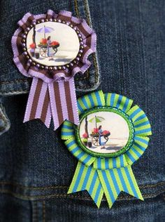 Prize Ribbon Rosette Image Brooches http://justsomethingimade.com/2012/07/prize-ribbon-rosette-image-brooches/