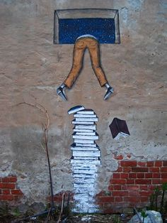 Street Art - Climb Over Books: Climbing Over Books. Street art by Andreyante AO, in Nizhny Novgorod, Russia. The most exceptional examples of street art and murals about books, libraries and reading, spotted in different places from all over the world. Murals Street Art, 3d Street Art, Street Art Graffiti, Amazing Street Art, Mural Art, Street Artists, Amazing Art, Street Art Utopia, Graffiti Artists