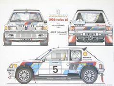 ra Peugeot 205 Turbo 16-De Timo Salonen - Seppo Harjanne con el que Compitieron en el 32º Acropolis Rally 1985, clasificado 1º.