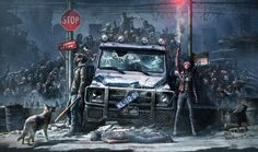 Post apocalyptic, but imagine style to be more realistic Arte Zombie, Zombie Art, Zombie Apocalypse Survival, Apocalypse Art, Apocalypse Aesthetic, Post Apocalyptic Art, Horror Art, Dark Art, Cyberpunk