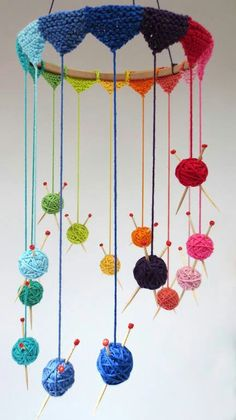 "Creative Knitting Project - Knit Mobile - cute but I would constantly be panicking over the ""needles"""