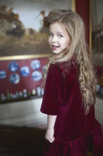 Cecile Velvet Dress in Royal Red color. Outer Layer: 100% cotton velvet Inner Layer: 100% cotton Aristocrat Kids Fall 2015 CollectionPre-Order Ships no later than May 15th 2015