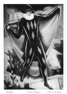 Embarkation of Harlequin (Arlequin), 1923 by Jean Metzinger. Cubism, Neoclassicism. genre painting