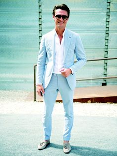 spring is here, lighten your outfit! This baby blue suit!!!! WANT ...