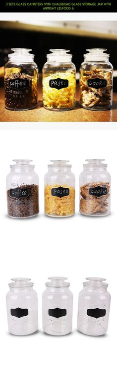 3 Sets Glass Canisters with Chalkboad Glass Storage Jar with Airtight Lid,Food & #kit #gadgets #shopping #products #tech #lids #plans #jars #parts #camera #airtight #drone #fpv #technology #storage #with #racing