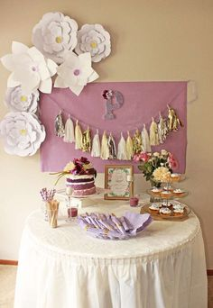 Purple baptism party dessert table! See more party planning ideas at CatchMyParty.com!
