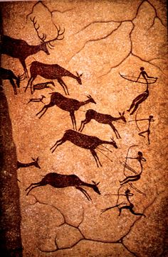 Ancient French cave paintings from the Lascaux Caves seen on my trip to France. Loved them!