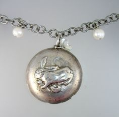 Antique Sterling SILVER BUNNY RABBIT Baby RATTLE Charm Pendant NECKLACE-n-bunrt