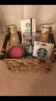 Starbucks gift basket Starbucks gift basket The Effective Pictures We Offer You About homemade Gifts A quality picture can Birthday Gift Baskets, Christmas Gift Baskets, Birthday Gifts For Best Friend, Happy Birthday Gifts, Christmas Gifts For Friends, Holiday Gifts, Graduation Gift Baskets, Christmas Gift Ideas, Valentine Gifts
