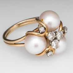 Vintage Cultured Pearl & Diamond Cocktail Ring 14K Gold