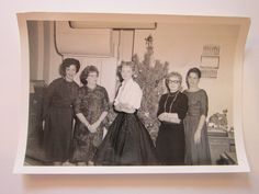 vintage photograph - Christmas at the office circa 1961 - cats eye glasses, quilted skirt - Christmas tree
