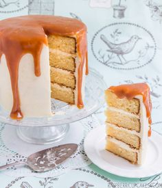 Brown Butter Cake with Vanilla Bean Icing and Salted Caramel