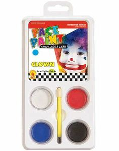 Multi-Purpose Clown Costume Accessory 5-Piece Aqua Makeup Kit Rubie's Costume Co. $3.12. This posting includes: White, black, red and blue makeup in tray with applicator brush as featured. Brand new Fantastic value Halloween Clown Water Washable Makeup Set. Great accessory for any Adult Halloween Clown costume. Please note that only the items listed above are included.. Save 75% Off!