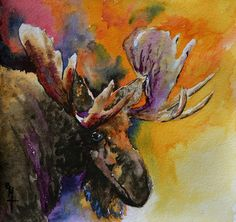 Sly Moose Painting by Beverley Harper Tinsley - Sly Moose Fine Art Prints and Posters for Sale