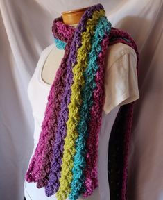 038209630c Crochet Chunky Scarf in Purple Pink Turquoise Blue and LIme Ladies winter  wrap long Wide Scarf