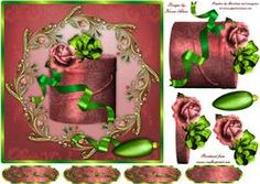 Red Christmas Rose Square Card Front & Step By Step