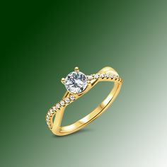 Solitaire set with a brilliant - cut cultured diamond of 0.40ct. with two wavy intersecting branches. Its brilliance is magnified by a fine row of diamonds on one of the branches on each side of the ring. Branches, Solitaire Setting, Culture, Creations, Engagement Rings, Jewelry, Diamond, Enagement Rings, Wedding Rings