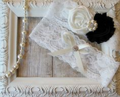 Wedding Garter Set with Ivory and Black Rosettes by TheLoveStory, $19.99