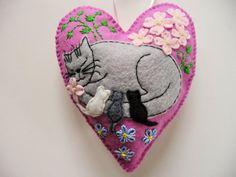 Mommy Cat with Kittens Felt Heart Ornament / by heartfeltwhimsy, $25.00