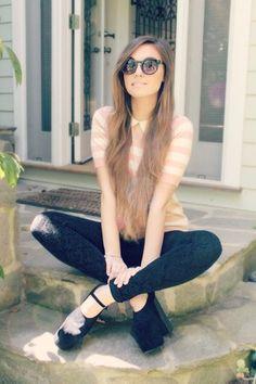 Marzia Bisognin in a pink striped collar shirt, patterned black leggings, and black platforms <3