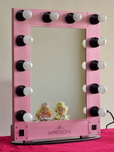 Hollywood Glam Lighted Make-up Vanity Table top Mirror PINK #ImpressionsVanity