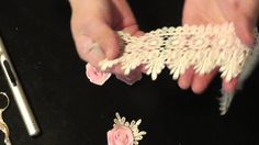 Rolled ribbon rose and lace embellishment tutorial