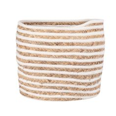 Ivory Cotton and Woven Plant Fibre Basket Cocoon | Maisons du Monde Small Storage, Storage Baskets, Cocoon, Plant Fibres, Fiber, Plants, Open Plan, Provence, Balcony