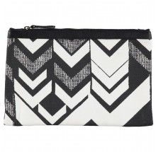 ZIGZAG big clutch | Cream/Black Beautiful printed clutch, size 24x18cm in 100% Cotton Canvas with genuine leather trim. Lining inside w. small zip pocket