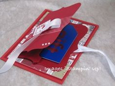 Stampin' Up! Top Note Die gift card holder and Christmas card.