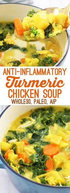 Anti-Inflammatory Turmeric Chicken Soup (Paleo, AIP, Whole This anti-inflammatory turmeric chicken soup is a nourishing and healthy meal. It's paleo, AIP, and friendly. Paleo Chicken Soup, Chicken Parmesan Recipes, Chicken Salad Recipes, Soup Recipes, Whole Food Recipes, Cooking Recipes, Recipe Chicken, Paleo Soup, Paleo Diet