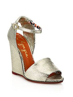 Charlotte Olympia Cracked Metallic Leather Wedge Sandals - Silver - Si