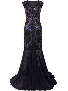 The perfect Vijiv Vijiv 1920s Long Prom Dresses V Neck Beaded Sequin Gatsby  Maxi Evening Dress d7b8148724aa