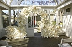 Unique wedding arches? :  wedding chuppah diy wedding arches huppah wedding arch Arch With Paper Flowers 3