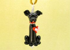 Valentine Dog Lover Pendant  Lampwork Glass Bead by SUZOOM on Etsy, $35.00