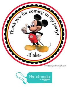 Mickey Mouse Custom Personalized Stickers Birthday Party Favors - Treat Tag Toppers- 24 Stickers Popular Size 2.5 Inches. Peel and Stick Backing from Custom Party Favors, Handmade Craft , and Educational Products http://www.amazon.com/dp/B01E836ZA8/ref=hnd_sw_r_pi_dp_br4dxb1R6FG0D #handmadeatamazon