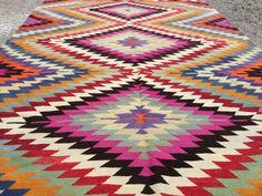 Area rug 8x10 Famous zigzag pattern Turkish Kilim Rug by KilimMe