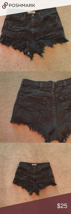 A&F high waisted shorts Distressed black high waisted shorts from abercrombie and fitch. fits xs-small-medium waist Abercrombie & Fitch Shorts