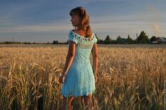 Купить Голубое озеро - бирюзовый, цветочный, голубое платье, вязанное платье, Вязание крючком