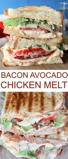 Chicken Avocado Bacon Sandwich Melt Recipe
