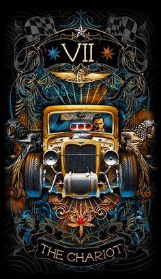 The Chariot - Psychobilly Tarot The Chariot Tarot, Major Arcana Cards, Pinstriping Designs, Love Tarot, Tarot Readers, Car Drawings, Oracle Cards, Psychobilly, Cthulhu