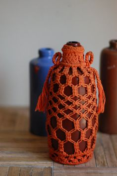 Vintage Glass Bottle with Macrame Sleeve by bonnbonn on Etsy, $19.00