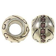 Amethyst Rhinestone Birthstone Charm Beads for Snake Chain Charm Bracelets