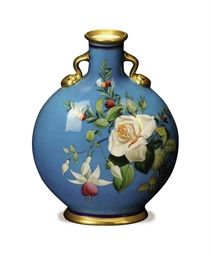 an english turquoise-ground pilgrim flask enameled with flowers,